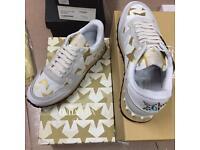 Valentino Garavani Star Gold White Rockrunner Suede Leather Men's Sneakers