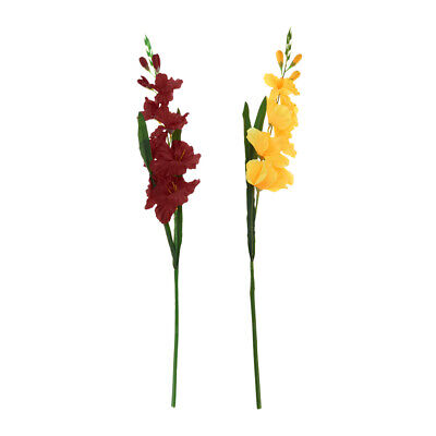 2pcs Artificial Gladioli Spray Stem Fake Silk Tropical Flowers-Yellow/Red