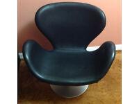Arne Jacobsen Inspired Swivel Swan Chair Black