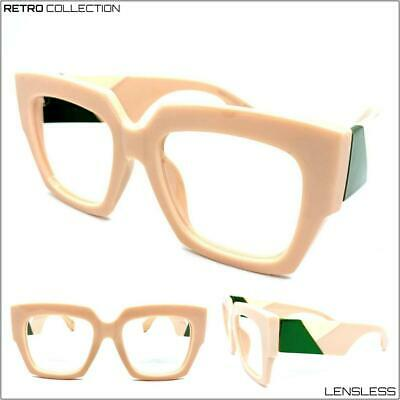 Exaggerated Retro Big Thick Square Pink Lensless Eye Glasses Frame Only NO (Big Pink Glasses)