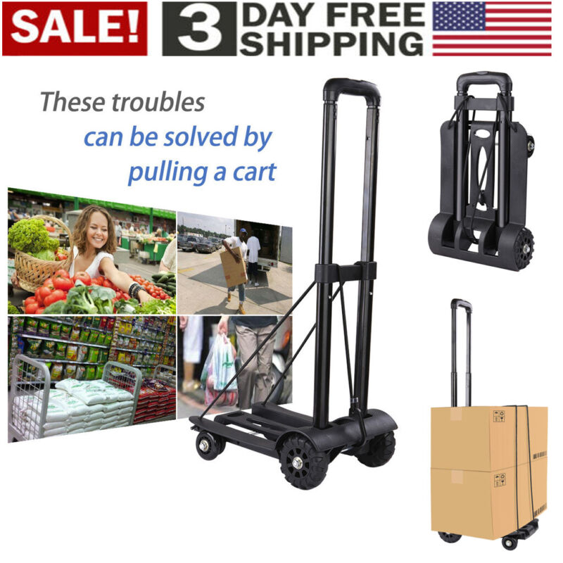 165lbs Cart Folding Dolly Collapsible Trolley Push Hand Truck Moving Warehouse - $26.99