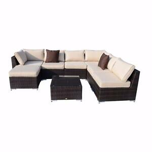 8pc Deluxe All-weather Rattan Sofa Set Patio Wicker Outdoor Garden Lounge Chair and Table