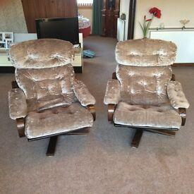2 Swivel Armchairs, dark wood frames with velvety upholstery