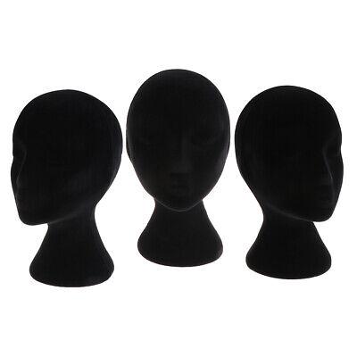 3x Female Styrofoam Mannequin Manikin Head Model Display Stands For Wigs Glasses