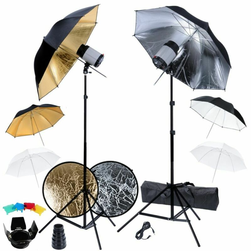 Photography Photo Strobe Studio Flash Light Kit Lighting Set Umbrella Reflector