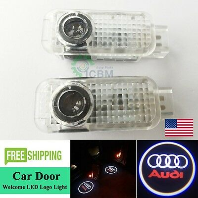 2xNo Drill LED Laser Projector Door Ghost Logo Lights For Audi A3 A4 A6 A8 Q5 Q7