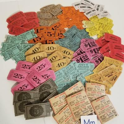 96 Vintage tickets theater arcade carnival paper ephemera lot red pink blue pink