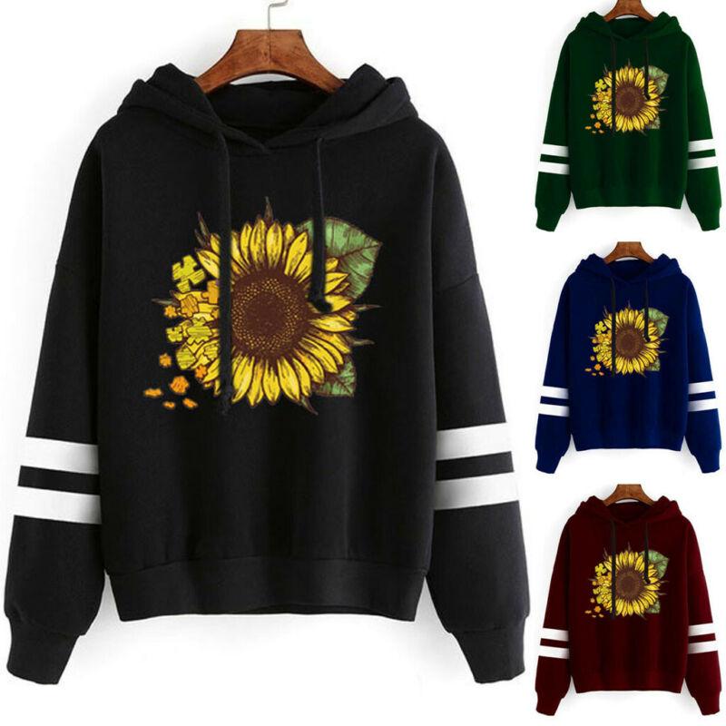 Women Girls Sunflower Print Hoodie Sweatshirt Pullover Sweat
