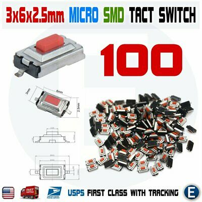 100pcs Momentary Tact Tactile Push Button Red Switch Micro Smd Smt Pcb 2 Pin Usa