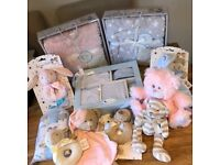 New Baby Gifts reduced. Clothing box sets, Blankets, Rattles, Toys, Baby girls & boys & unisex