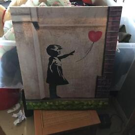 Banksy style painting on canvas