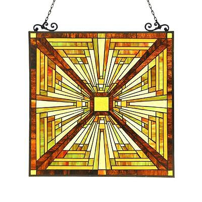 "Stained Glass Chloe Lighting Mission Window Panel CH3P359MR26-GPN 24.5 X 26"" New"