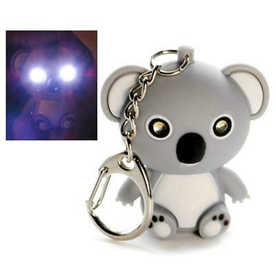 LED LIGHT KEYCHAIN KOALA BEAR w SOUND Animal Toy Keyring Key Chain Ring NEW Gift