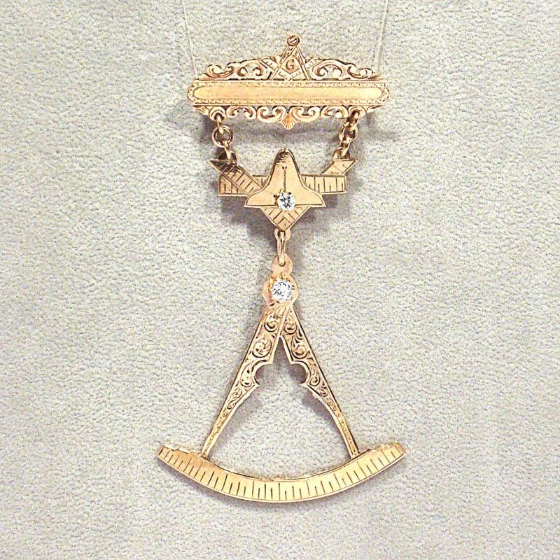 ANTIQUE SOLID 14K YELLOW GOLD & DIAMONDS PAST MASTER MASONIC MEDAL