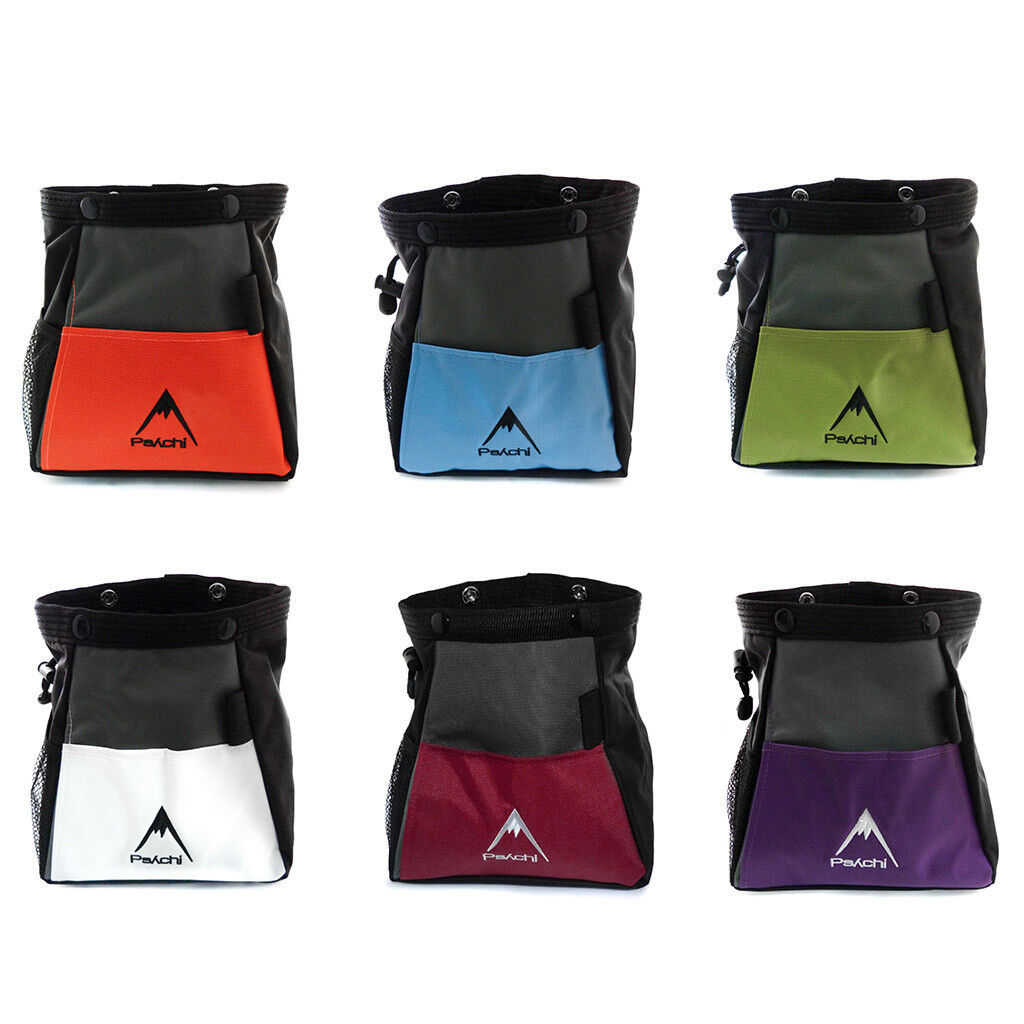 Psychi Chalk Bouldering Bucket Stand Bag for Rock Climbing with Storage Pockets