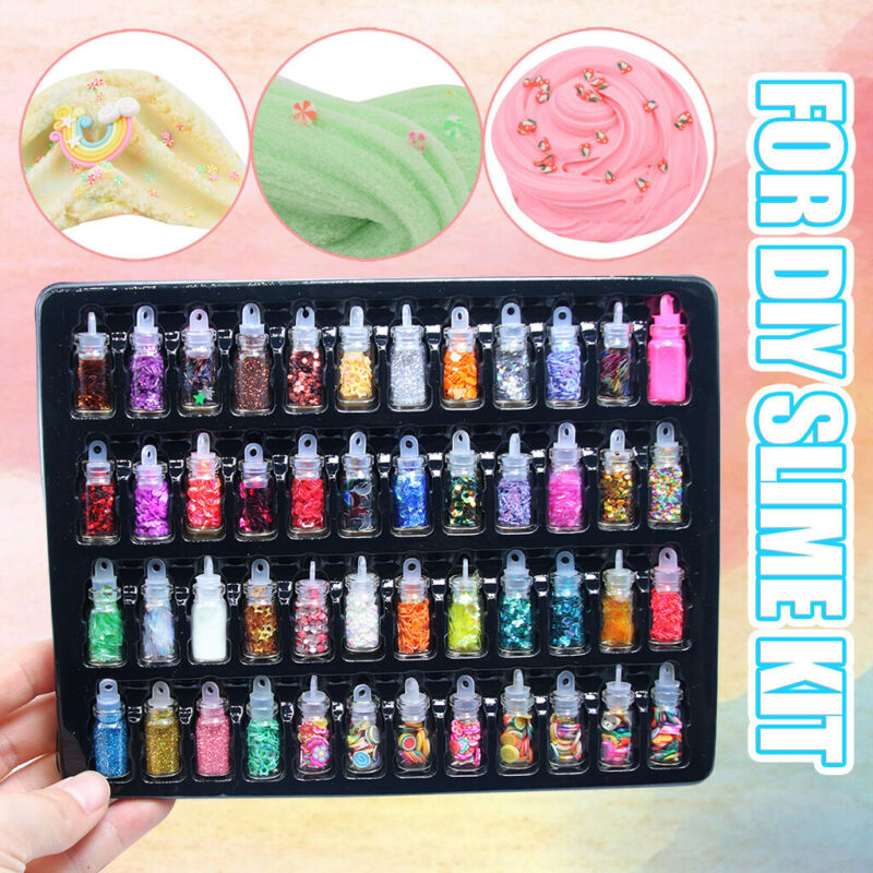 48Pcs+Sequins%2FGlitter+Filler+Soft+Slime+Toys+For+Children+Mud+DIY+Kit+Girl+Heart