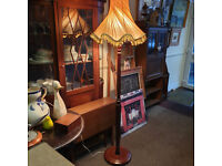 Nice Vintage Regency Style Mahogany Floor Standing Standard Lamp with Large Gold Chiffon Shade