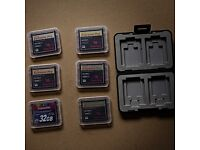 5 SANDISK EXTREME PRO ULTRA FAST, 16GB, 1 TRANSCEND EXTREME PRO 32GB, PLUS CASES, GREAT NICK.