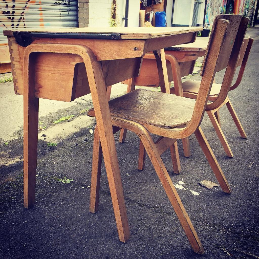 Vintage School Desk & Chair Set Industrial Kids Bedroom Study