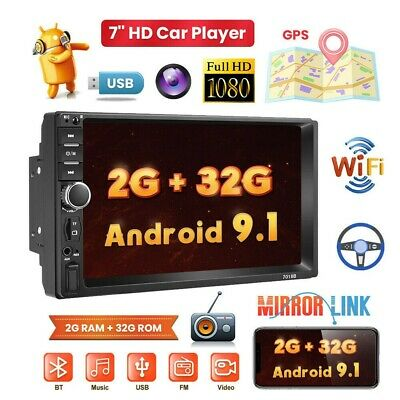 2 Din Autoradio Stereo Android 9.1 GPS Navi 7'' Bluetooth MP5 Radio WIFI FM USB