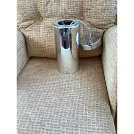 Long silver metal tubular modern light shade. NOW £3