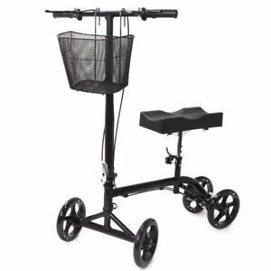 Kneeling Walker Steerable Foldable Scooter Turning Brake Basket Drive Cart Black - brand new - FREE SHIPPING