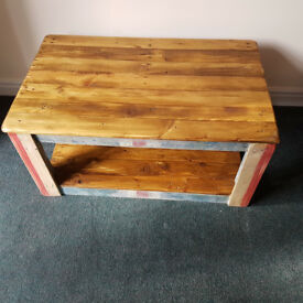 Handmade Rustic Farmhouse Country Style Shabby Chic Coffee Table With Distressed Union Jack
