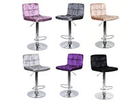*£35* New CRUSHED VELVET Breakfast Bar Kitchen Stools Swivel Dining Office Home Stool Chair Barstool
