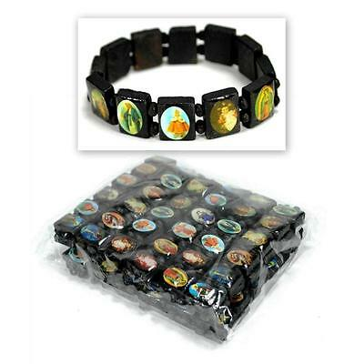 LOT OF 12 SAINT BEAD BRACELET Black Wood Stretch Elasitc Religious Icon Catholic