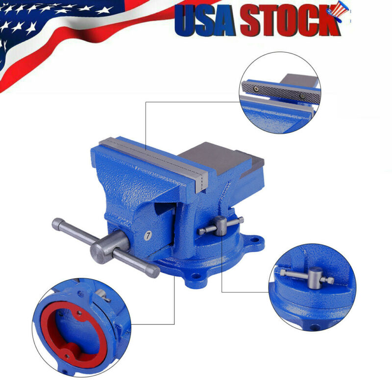 "5""in Bench Vise with Anvil Swivel Locking Base Table top Cla"