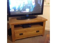 Solid Oak Corner TV Stand