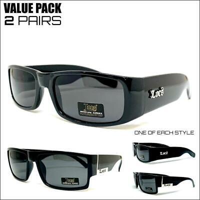 2 PAIRS Mens CLASSIC Hardcore Biker Original Gangster OG LOCS SUN GLASSES (Hip Hop Sunglasses Wholesale)