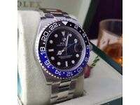 Silver Rolex GMT Master II Batman Comes Rolex Bagged and Boxed with Paperwork