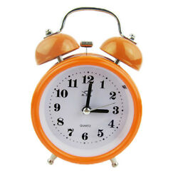 Silent Double Twin Bell Metal Alarm Clock Snooze Table Bedside Clock ORANGE