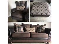 3 seater tartan stag sofa, armchair and footstool