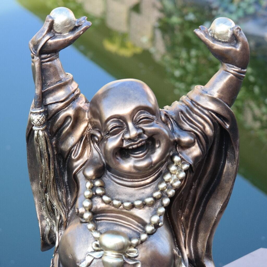 Dekofigur Glücksbuddha Asien Deko Garten Terrasse Wohnung Statue Skulptur Buddha