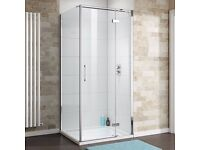 900 x 900mm hinged door shower enclosure without shower tray and waste