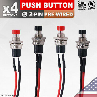 4 Pack Heavy Duty Momentary Push Button Redblack 2-pin Switch Led Car Sps