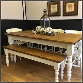 HANDMADE NEW PINE FARMHOUSE PLANK TOP FARMHOUSE TABLE BENCH AND CHAIRS