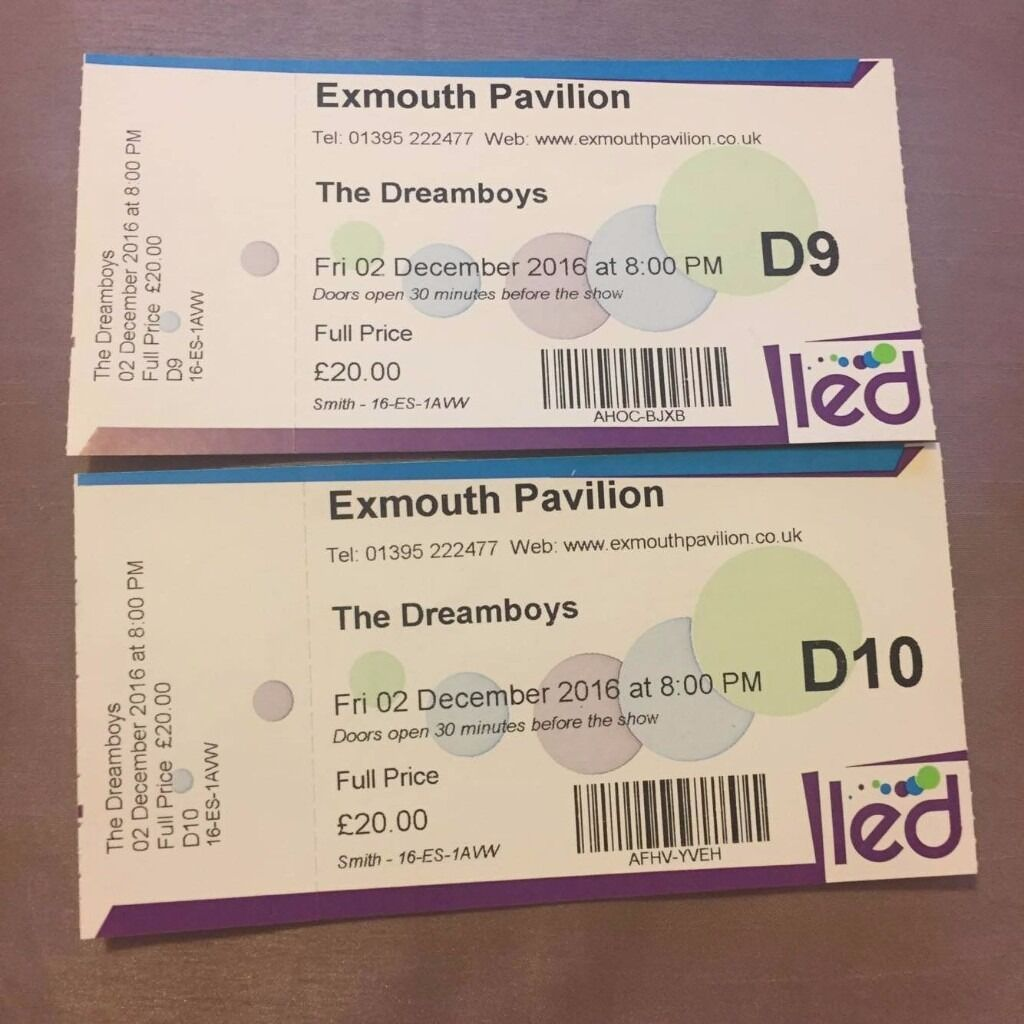 3 x DREAM BOYS TICKETS FOR SALE 4TH ROW FROM THE FRONT for FRI 2ND DEC