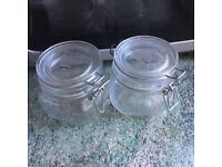 2x Clip lock Jars for Kitchen
