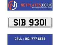 'SIB 9301' Personalised Number Plate Audi BMW Ford Golf Mercedes VW Kia Vauxhall Caravan van 4x4