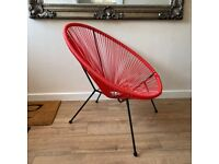 Vintage Rattan String Egg Moon Chair Red & Black