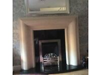 Cast resin fireplace and gas fire