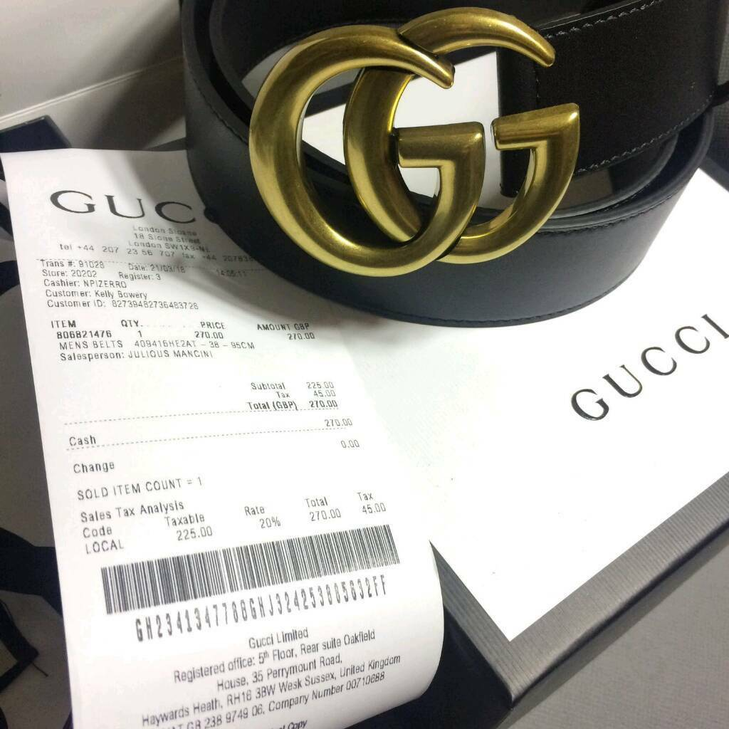 ce38da6de Big buckle mens gold gg black leather belt gucci boxed with gift bag ...