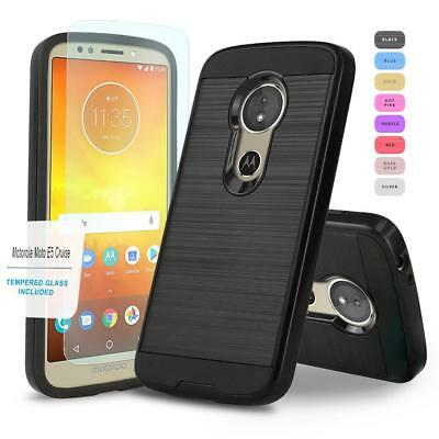 Protech Armor Cover Phone Case For  Motorola Moto E5 Cruise   Tempered Glass