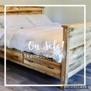 ON SALE! In Stock Reclaimed Wood Bed Frame King Size with Drawers $400 off. By LIKEN Woodworks.