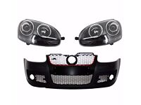 Complete front bumper and Xenon headlights Golf V MK 5 2003 2009 R32 Black LHD