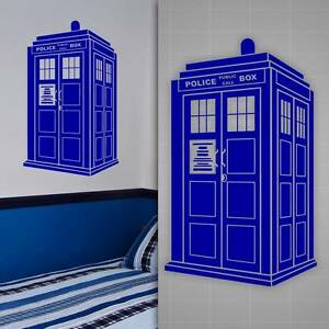 Tardis wall decal doctor who style sticker kids room wall for Decoration porte tardis