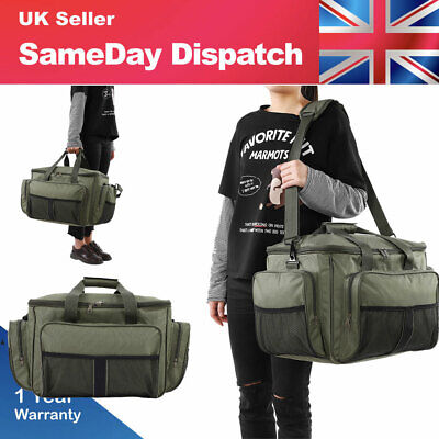 New Large Capcity Green Fishing Tackle Bag Holdall Adjustable Shoulder Strap